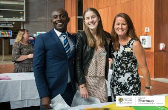 Social Rep Bex Angus pictured with staff of the School of pharmacy