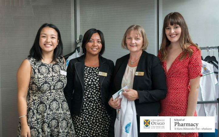 SEO/Welfare Rep Nadine King, and Marketing Rep Emma Gray pictured with staff from the school of pharmacy
